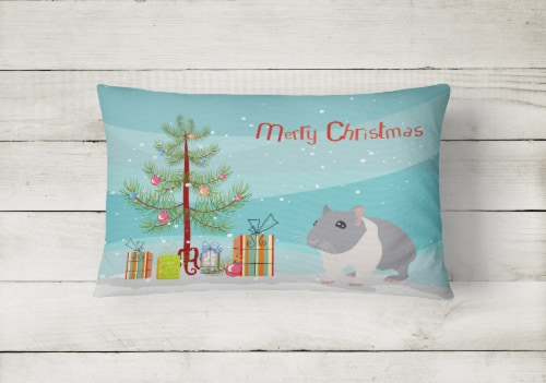 South African Hamster Merry Christmas Canvas Fabric Decorative Pillow Perspective: back