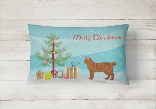 American Bobtail #2 Cat Merry Christmas Canvas Fabric Decorative Pillow Perspective: back
