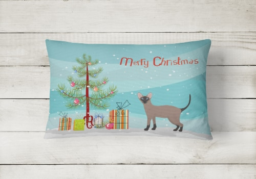 Oriental Bicolor Cat Merry Christmas Canvas Fabric Decorative Pillow Perspective: back
