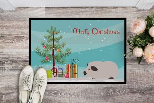 Himalayan Guinea Pig Merry Christmas Indoor or Outdoor Mat 18x27 Perspective: back