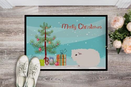 Merino Guinea Pig Merry Christmas Indoor or Outdoor Mat 18x27 Perspective: back