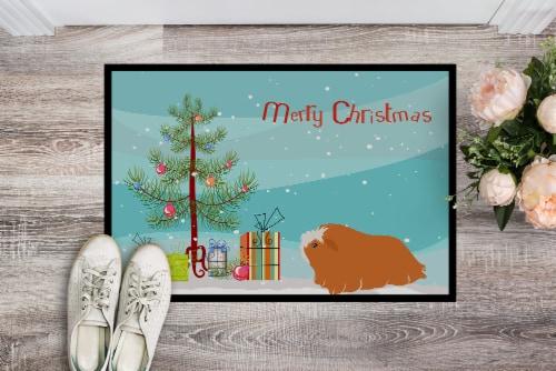 Peruvian Guinea Pig Merry Christmas Indoor or Outdoor Mat 18x27 Perspective: back