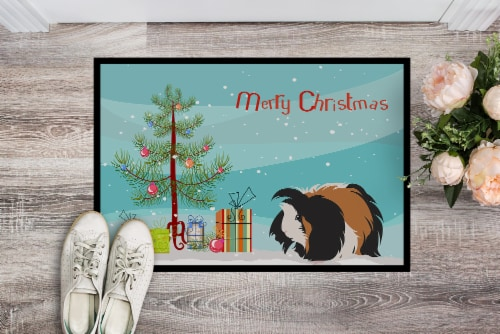 Sheba Guinea Pig Merry Christmas Indoor or Outdoor Mat 18x27 Perspective: back