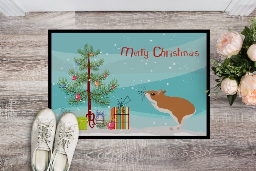 White Legged Hamster Merry Christmas Indoor or Outdoor Mat 18x27 Perspective: back