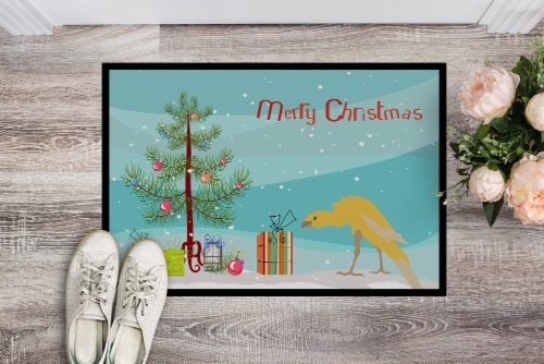 Belgian Hunchback Canary Merry Christmas Indoor or Outdoor Mat 18x27 Perspective: back