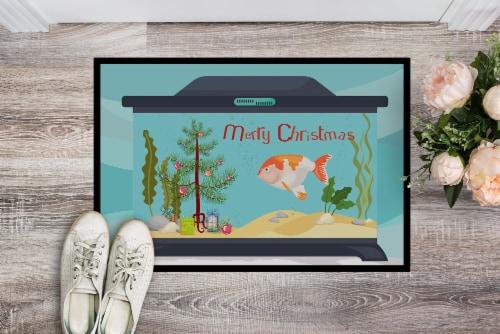 Lionhead Goldfish Merry Christmas Indoor or Outdoor Mat 18x27 Perspective: back