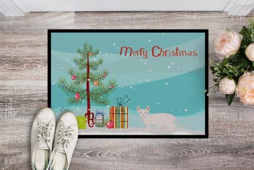 Dwelf #3 Cat Merry Christmas Indoor or Outdoor Mat 18x27 Perspective: back