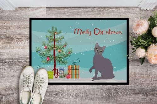 Korat Cat Merry Christmas Indoor or Outdoor Mat 18x27 Perspective: back