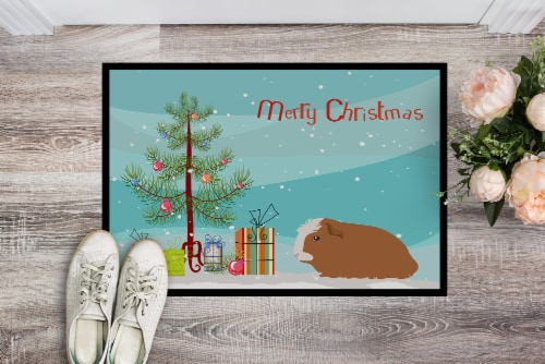 Crested Guinea Pig Merry Christmas Indoor or Outdoor Mat 24x36 Perspective: back