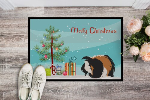 Sheba Guinea Pig Merry Christmas Indoor or Outdoor Mat 24x36 Perspective: back