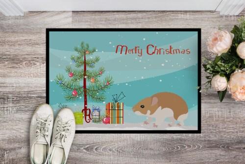 Turkish Hamster Merry Christmas Indoor or Outdoor Mat 24x36 Perspective: back