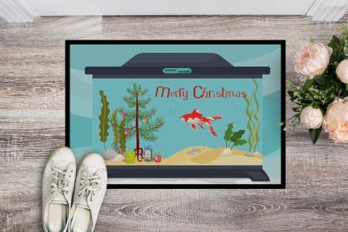 Comet Goldfish Merry Christmas Indoor or Outdoor Mat 24x36 Perspective: back