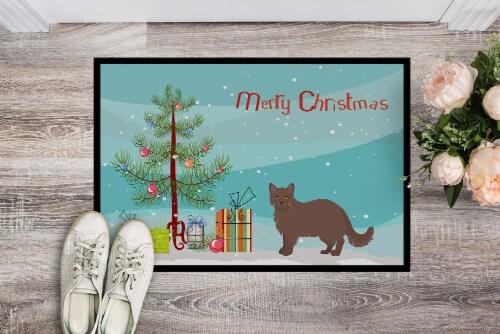 York Chocolate #1 Cat Merry Christmas Indoor or Outdoor Mat 24x36 Perspective: back