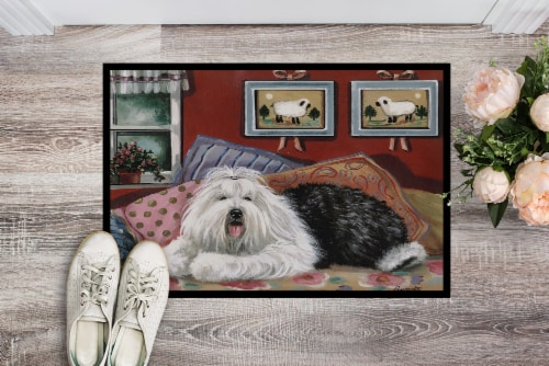 Old English Sheepdog Sweet Dreams Indoor or Outdoor Mat 18x27 Perspective: back