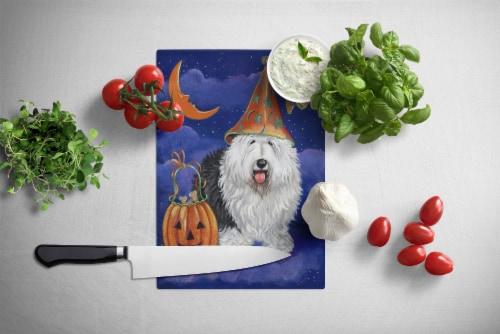 Old English Sheepdog Halloween Glass Cutting Board Large Perspective: back