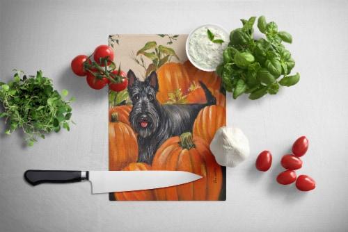 Scottish Terrier Scottie Pumpkins Glass Cutting Board Large Perspective: back