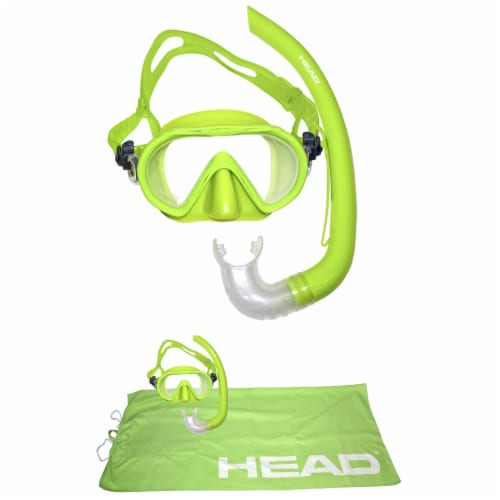 HEAD Adventure Junior Combo 4-in-1 Complete Snorkeling Diving Kit, Lime Green Perspective: back