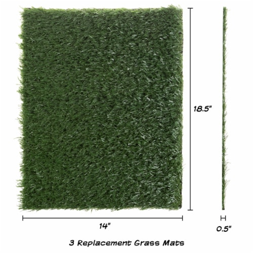 Replacement Grass Mats- Set of 3 Turf Pads for Puppy Potty Trainer Fake Grass is 18.5 x 14 Perspective: back