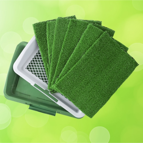 Puppy Potty Trainer- Artificial Grass Mat, Tray & 5 Extra Replacement Turf Pads Perspective: back
