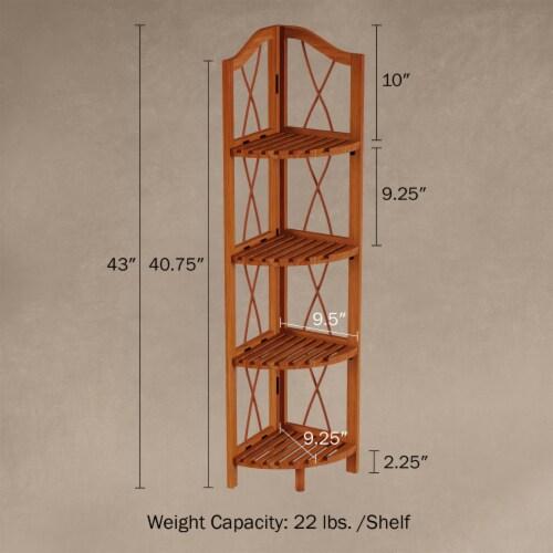 Folding Corner Shelf- 4 Tier Wooden Bookcase- For Display Shelving for Living Room, Bathroom, Perspective: back