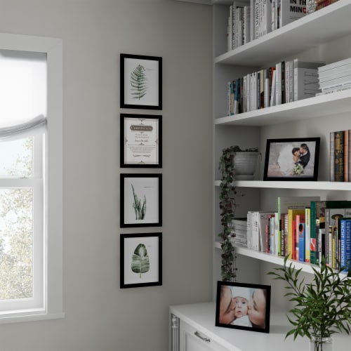 6 Pack of  Black Photo Frames 8 x 10 Wall Hang or Table Top Display Images Home Decor Perspective: back
