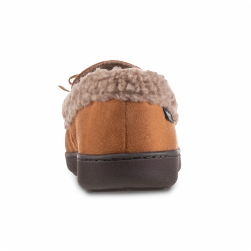 Isotoner® Men's Microsuede and Berber Slippers - Brown Perspective: back