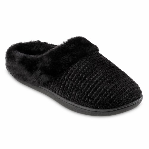 Isotoner­® Striped Chenille Ann Hoodback Slippers Perspective: back