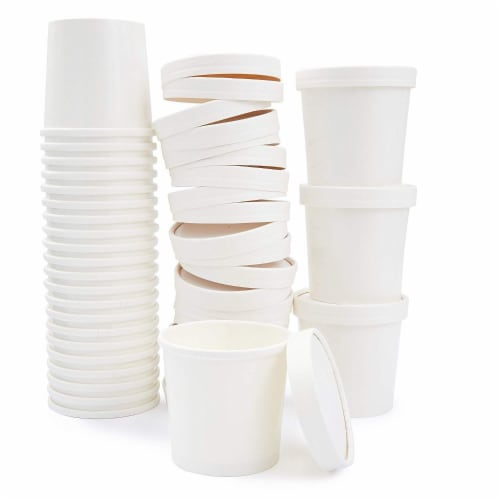 50 Pack 12oz Paper Ice Cream Dessert Soup Food Storage Meal Prep Cups with Lids Perspective: back
