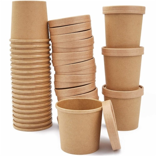 50 Pack 12 oz Disposable Soup Containers with Lids, Take Out Cups for Hot or Cold Food to Go Perspective: back