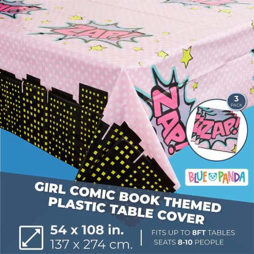Girl Hero Comic Book Plastic Table Covers (54 x 108 in, 3 Pack) Perspective: back