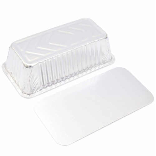 50x Christmas Disposable Aluminum Foil Loaf Pan Lid 8.5 x 2.5 x 4.5 inch (22 Oz) Perspective: back
