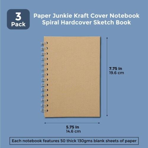 Kraft Cover Notebook, Spiral Hardcover Sketchbook (7.75 x 5.75 In, 3-Pack) Perspective: back