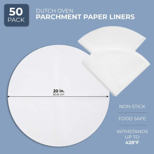 50x Parchment Paper Sheets Dutch Oven Liners, Non-Stick White Circle 20 inches Perspective: back