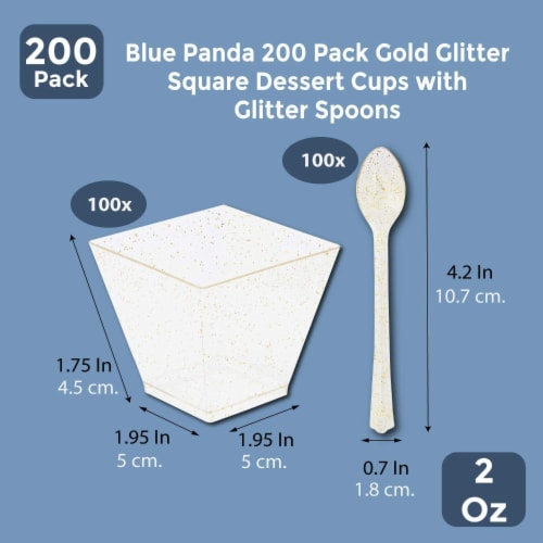 Gold Glitter Square Dessert Cups with Spoons for Birthdays, Wedding, Parties (2 oz, 200 Pack) Perspective: back
