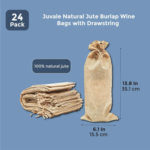 Natural Jute Burlap Wine Gift Bags with Drawstring (13-Inches, 24-Pack) Perspective: back