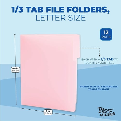 Decorative File Folders, 1/3 Cut Tab, Letter Size (Pink, 12 Pack) Perspective: back
