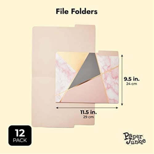 Geometric Marble File Folders, Rose Gold Office Supplies (Letter Size, 12 Pack) Perspective: back