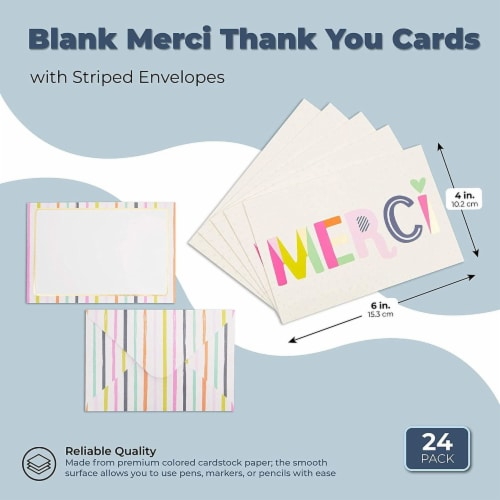 Blank Merci Thank You Cards with Striped Envelopes (6 x 4 Inches, 24 Pack) Perspective: back
