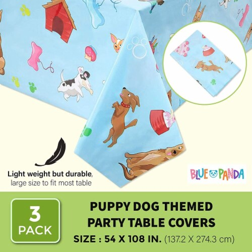 Blue Panda Puppy Dog Themed Party Table Covers (54 x 108 in, Rectangle, 3 Pack) Perspective: back