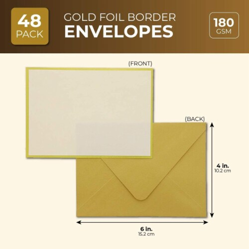 48x Blank Invitation Cards and Envelopes Wedding Baby Bridal Shower Gold 4x6 Perspective: back