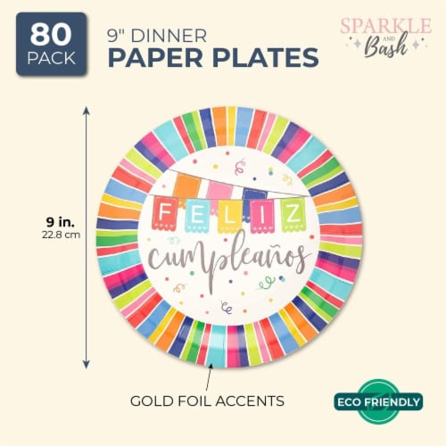 Feliz Cumpleanos Paper Plates for Birthday Party (9 In, 80 Pack) Perspective: back