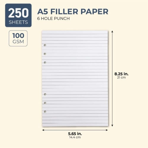 LinedA5 Refill Paper, 6 Hole Punched (8.25 x 5.7 In,250 Sheets) Perspective: back