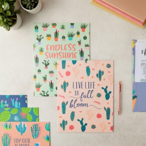 Succulent 2-Pocket Folders for School, Letter Size, 6 Cactus Designs (12 Pack) Perspective: back