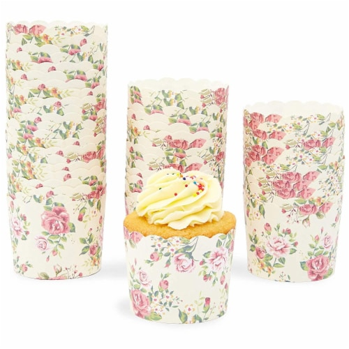 50-Pack Muffin Liners - Vintage Floral Cupcake Wrappers Paper Baking Cups Perspective: back