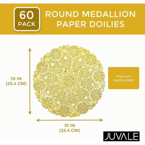 "60pcs Medallion Gold Round 10"" Paper Doilies Lace for Art Wedding Table Décor Perspective: back"