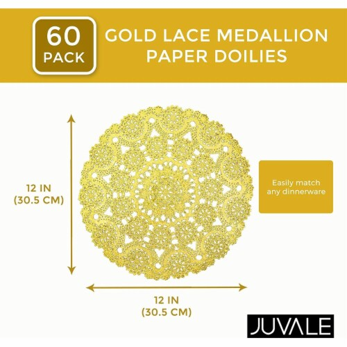 "60pcs Medallion Gold Round 12"" Paper Doilies Lace for Art Craft Table Decor Perspective: back"