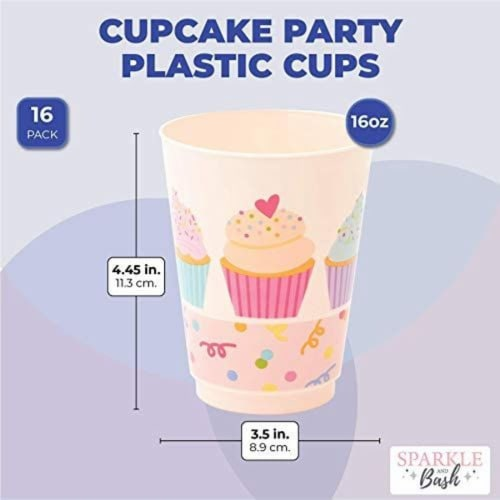 Pink Plastic Tumbler Cups, Cupcake Party Decorations (16 oz, 16 Pack) Perspective: back