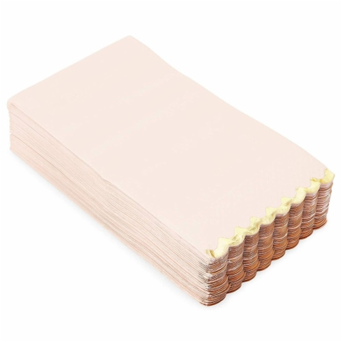 Bright Pink Scalloped Paper Napkins with Gold Foil Edges (4.4 x 7.8 In, 50 Pack) Perspective: back