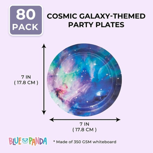 Galaxy Paper Plates for Outer Space Party (7 In, 80 Pack) Perspective: back