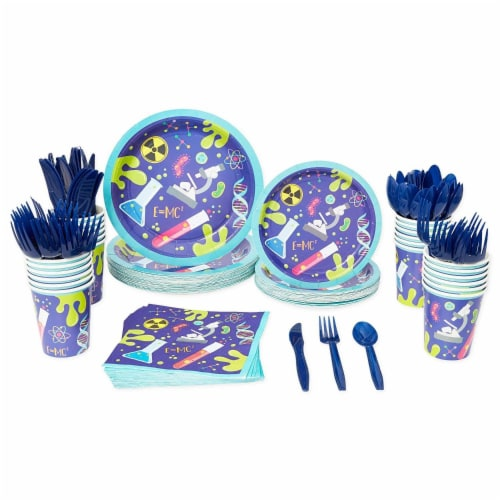 Science Lab Party Pack, Paper Plates, Cutlery, Cups, and Napkins (Serves 24, 168 Pieces) Perspective: back